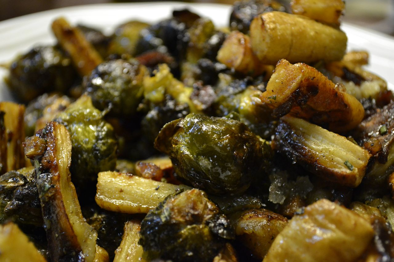 Roast Parsnips and Brussel Sprouts | Chocolate and Chiles